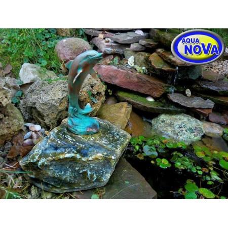 Садовая фигурка фонтан АкваНова Дельфин на камне
