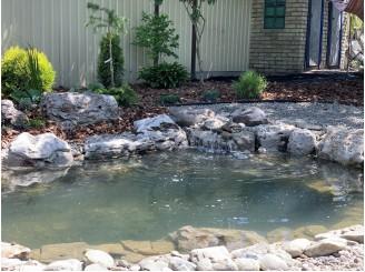 Декоративный водоем с озеленением участка по периметру с. Ясногородка