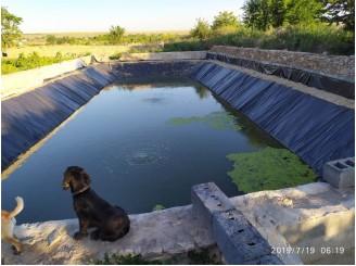 Изоляция ПВХ пленкой чаши водоема для полива поля с. Давыдив Брид