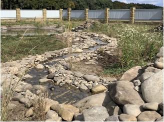 Декоративный ручей, соединяющий водопад и плавательный пруд  г. Луцк