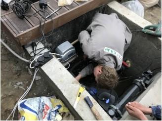 Установка оборудования и декоративной подсветки на пруд с. Погребы