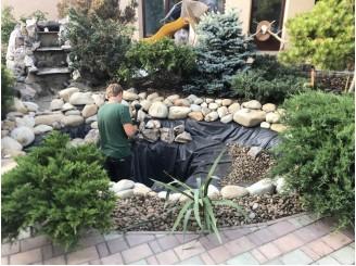 Реконструкция, замена изоляции в маленьком садовом водоеме г. Киев