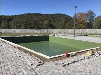Изоляция чаши плавательного бассейна зеленой ПВХ Агрилак 1 мм г. Мукачево
