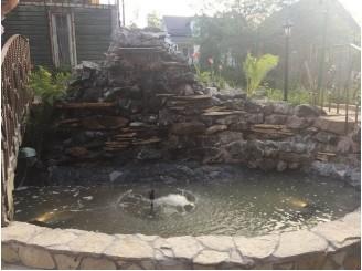 Реконструкция изоляции с облицовкой декоративного водоема с водопадом г. Вышгород