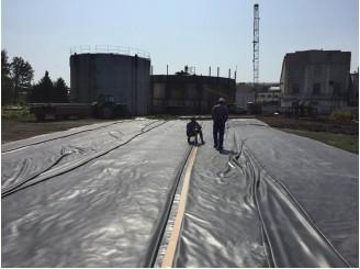 Изоляция ЭПДМ мембраной водохранилища для сахарного завода смт Коломак