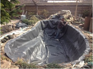 Замена гидроизоляции садового водоема, восстановление окантовки г. Вышгород