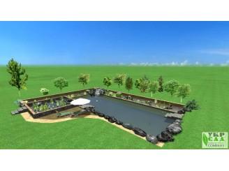 Визуальный 3D проект биопруда с водопадом и двухуровневым биоплато с. Бышев