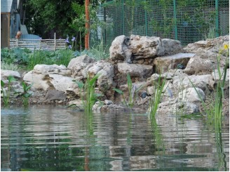 Компактный дачный пруд с декоративным водопадом из полевого туфа с. Гореничи